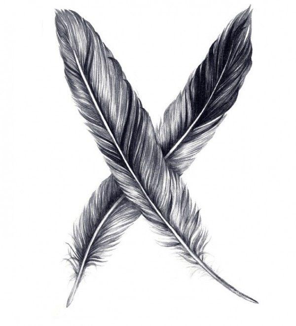 Voorbeeld van getekende veren voor mijn achtergrond. Ik vind dat deze veren er heel echt uitzien door bijvoorbeeld de schaduw.