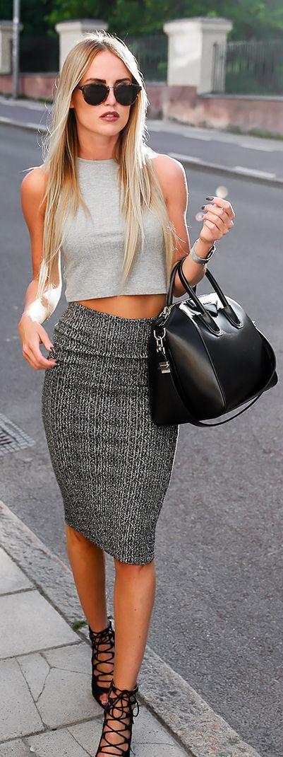 Cute Pencil Skirt + Crop Top