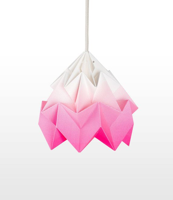 Moth origami lampshade gradient pink by Nellianna