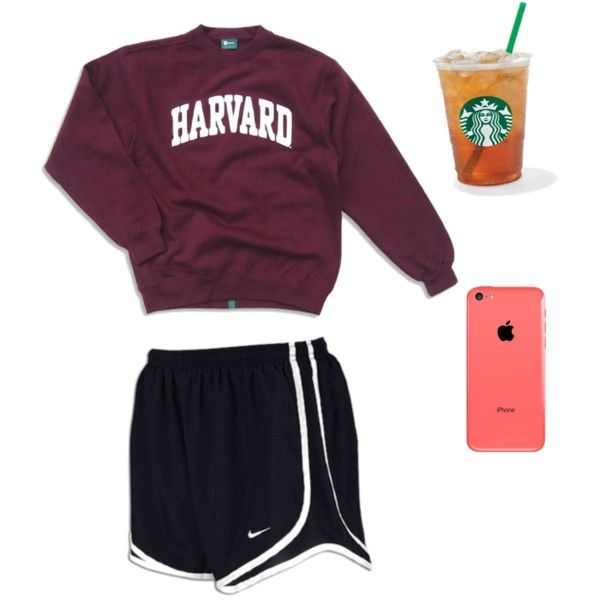 """Lazy day"" by prepster-b on Polyvore Nike Tempo shorts maroon college sweatshirt"
