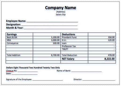 Efficient Salary Slip Template Example with Company Name and Blank Employee Information and Signature also Table Payment Details - an image part of Epic Design of Certificate of Achievement Template with Green Color Accent and Gold Medal Brooch