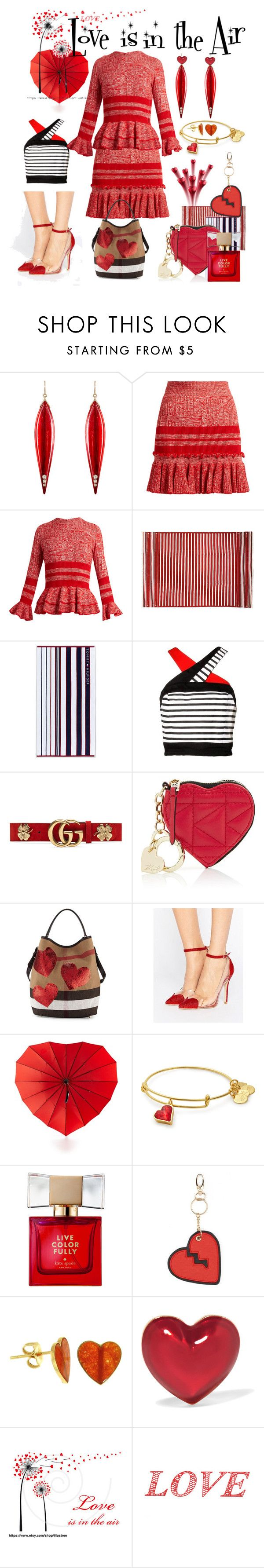 """""""Love is in the Air"""" by rosalindmarshall ❤ liked on Polyvore featuring Mark Davis, Alexander McQueen, Tommy Hilfiger, Gucci, Karl Lagerfeld, Burberry, Public Desire, Celebrate Shop, Kate Spade and Under One Sky"""