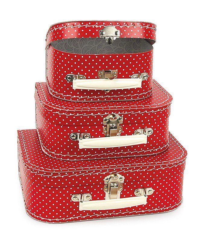 Koffer Kofferset Kinderkoffer Reisekoffer Set für Kinder 3 Koffer rot weiß