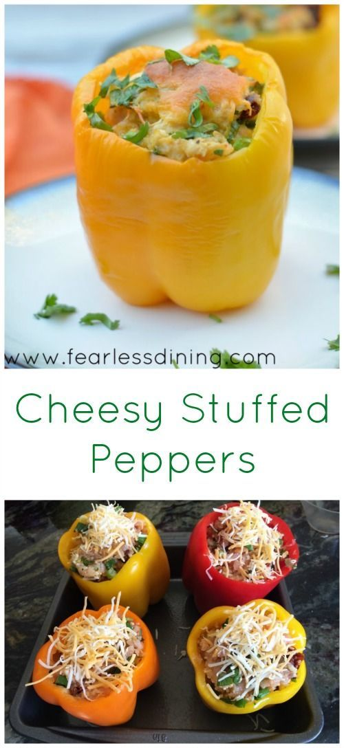 Cheesy Stuffed Peppers. Ground beef dinner recipe. How to make gluten free stuffed peppers. Tri-colored peppers. Meatloaf stuffed peppers. http://www.fearlessdining.com