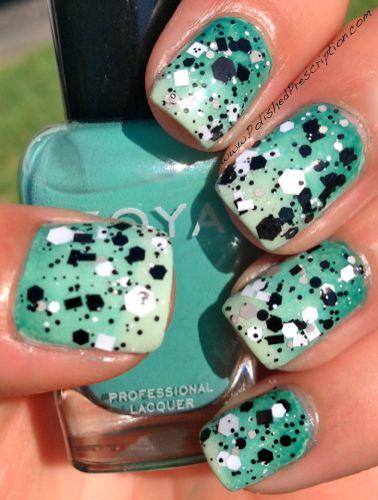 Polished Prescription: Concert Nails - Green Gradient Splatter