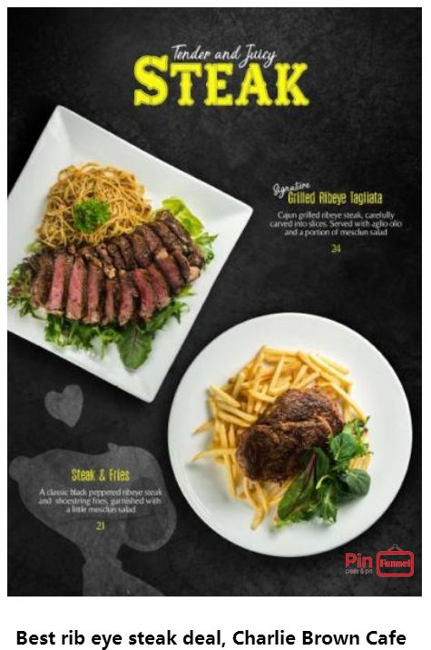 Famous rib eye steak deal specials 2018 at Charlie Brown Cafe, Orchard Road, Singapore, the best comics themed cafe at Cathay Cineleisure Orchard. It is Singapore MUIS Halal certified restaurant and cafe.