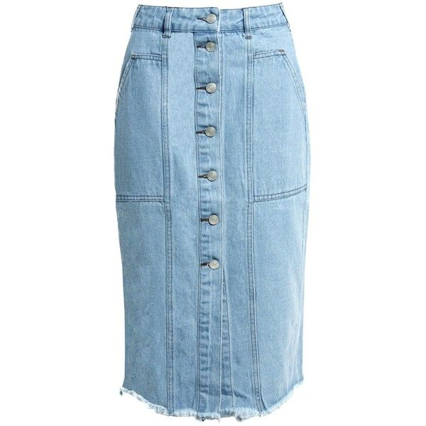 Sans Souci Button down denim midi skirt ($39) ❤ liked on Polyvore featuring skirts, denim, denim midi skirt, knee length a line skirt, a-line skirts, a line denim skirt and blue skirt