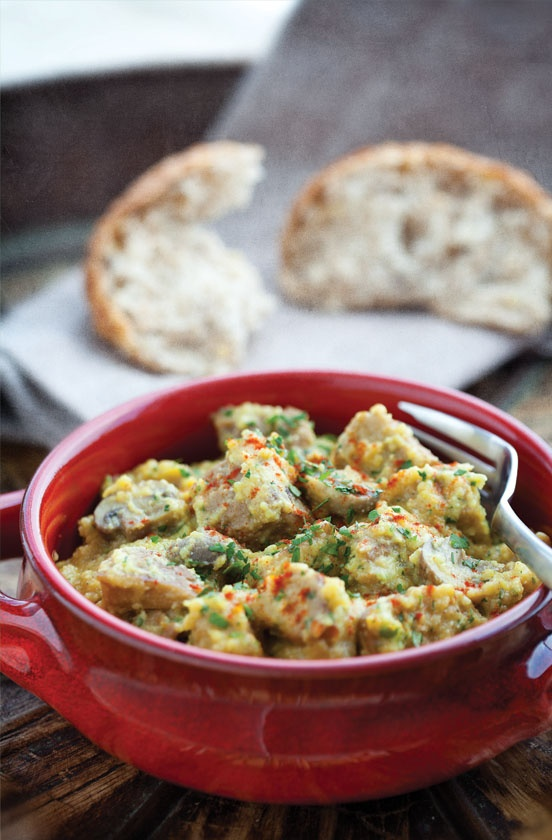 This seitan stew is a sumptuous vegetarian take on an old Catalonian/Spanish dish. It utilizes a traditional Catalonian sauce component—the picada-—which consists of breadcrumbs, almonds, garlic, and sometimes parsley and other seasonings.  alive.com