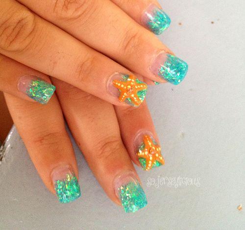summer nail anchor designs | Beach Nails ---I like the concept, blue nails and a starfish design