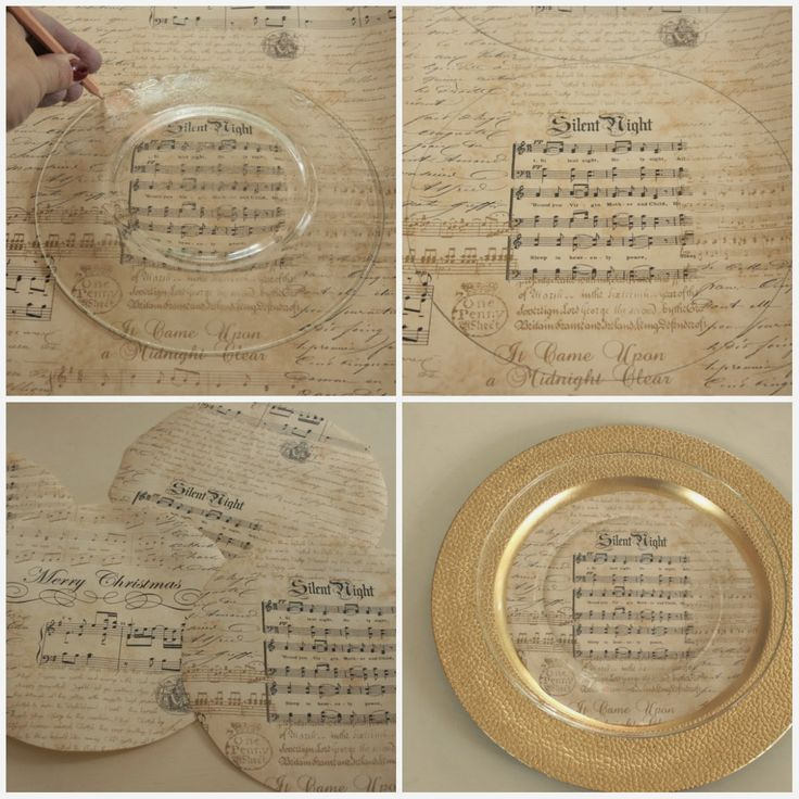 Christmas sheet music is the inspiration this year for my Christmas table. I just cut out large paper circles and nestled them between a gold charger plate and a glass dish.
