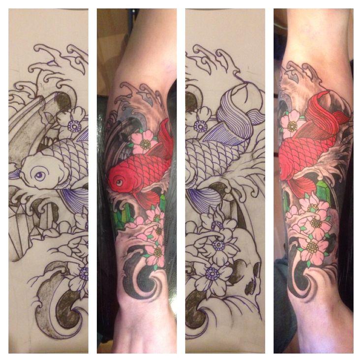 Japanese sleeve tattoo koi fish design. Tattooed in Leicester's tattoo studio - dragons forge tattoo