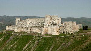 Krak des Chevaliers, preserved Medieval Castle built by Crusaders in Syria, 12th century