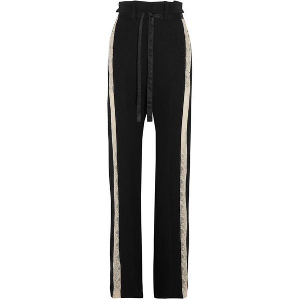Ann Demeulemeester Lace-trimmed wool-blend wide-leg pants ($925) ❤ liked on Polyvore featuring pants, bottoms, black, wide leg trousers, ann demeulemeester, pastel pants, structure pants and creased pants