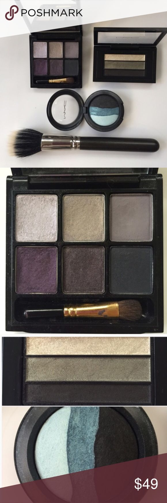 MAC Bundle Authentic MAC palettes and full size brush #187. You get 6 eyeshadow pallet, very light use. 3 shadow pallet in green/black and gold shimmer. Blue My Mind Mineralized 3 in 1 eyeshadow and the #187 brush, I used it with loose powder. Everything has been sanitized. MAC Cosmetics Makeup Eyeshadow