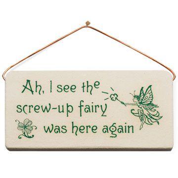 Screw Up Fairy Plaque