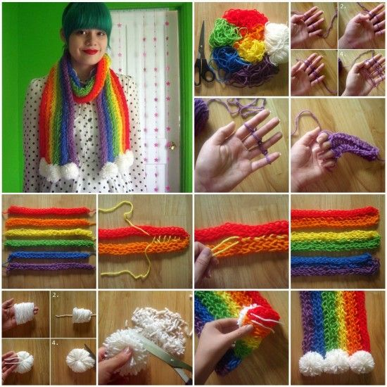 Finger Knitted Rainbow Scarf