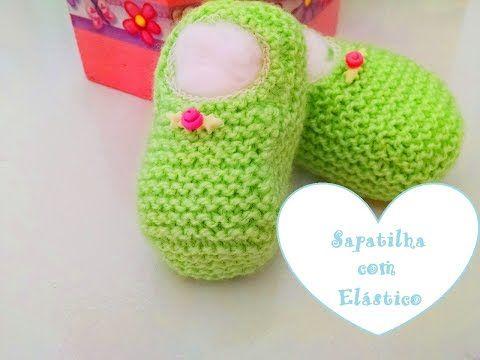 Sapatilha de tricô com elástico – vídeo e receita – Tricotando Crochê