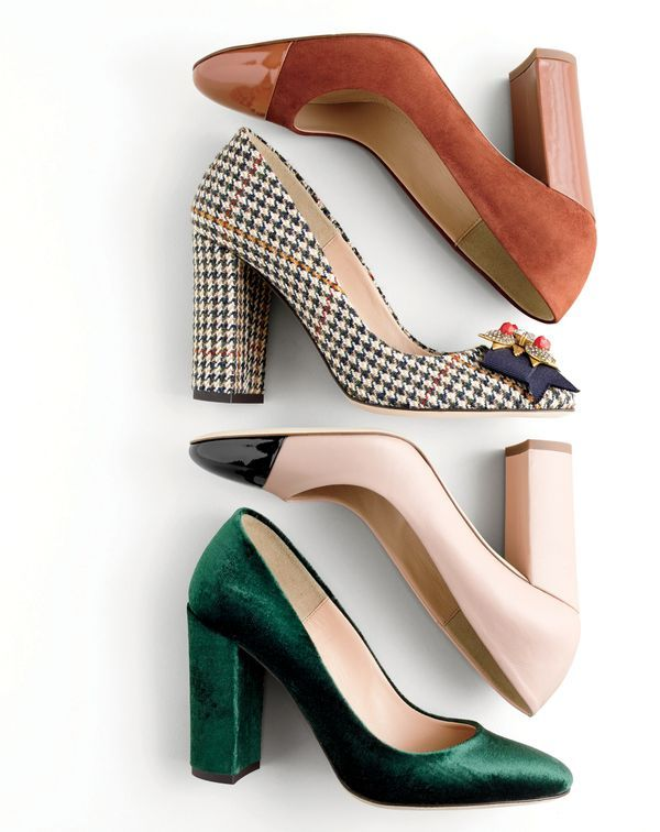"""I love the chunky heel - a little high for my preferences - would like the 2"""" heel better.   J.Crew women's Lena pumps."""