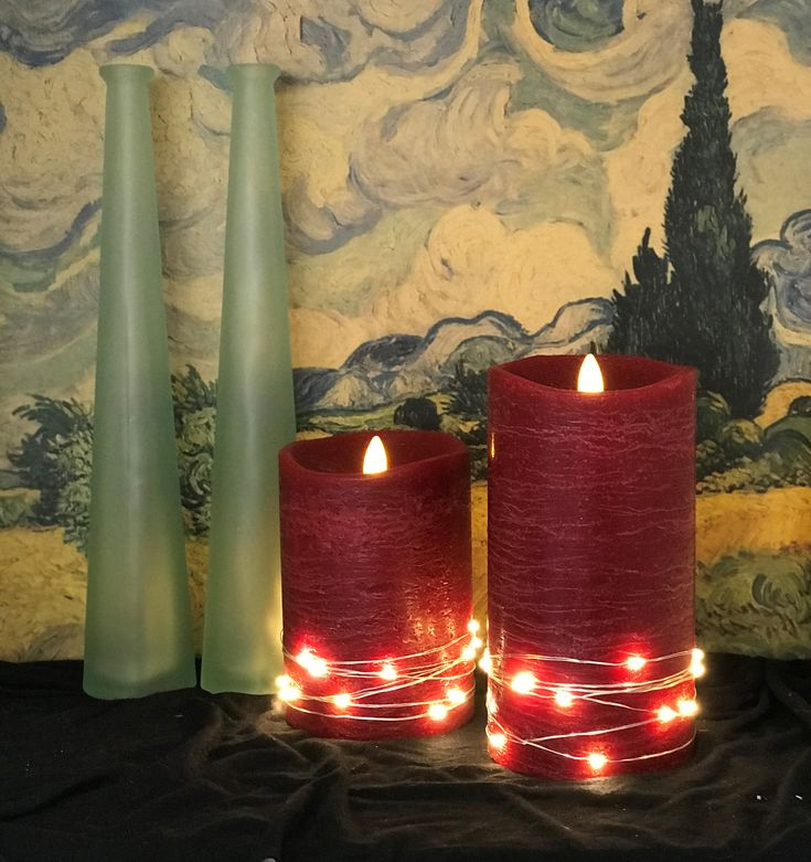LED flameless flickering wax candles embellished with LED mini fairy lights for added sparkle