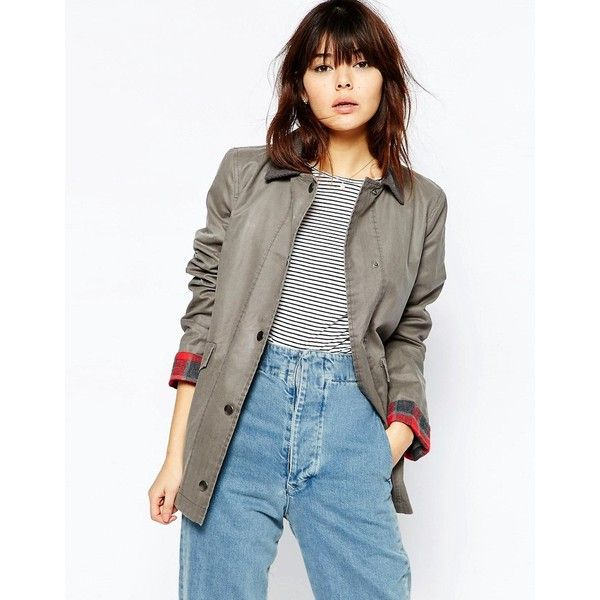 ASOS Jacket in Wax and Heritage Detail (119 AUD) ❤ liked on Polyvore featuring outerwear, jackets, grey, asos jackets, gray jacket, pocket jacket, cotton jacket and grey jacket
