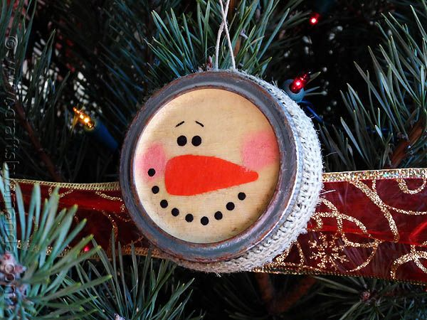 ~ Antiqued Canning Lid Snowman