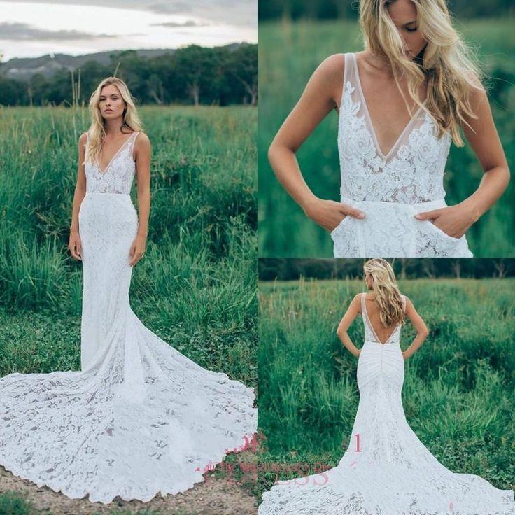 2017 Lace Sheath Beach Wedding Dress V-Neck Backless White Ivory Bridal Gown New  | eBay