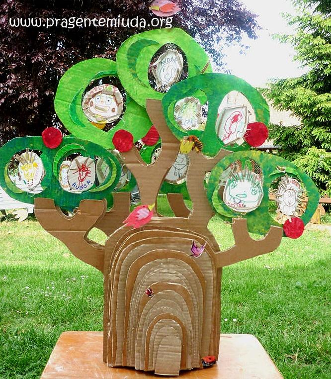 Meio Ambiente - Árvore com reciclagem de papelão - Pra Gente Miúda