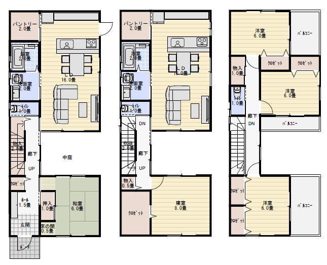 二世帯住宅完全分離型の間取り図集 左右分離や30 50坪の間取り