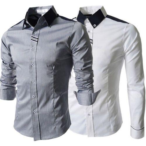 Hombres-Golpean-Cuello-Camisa-De-Trabajo-De-Color-De-Manga-Larga-Recreacion-new