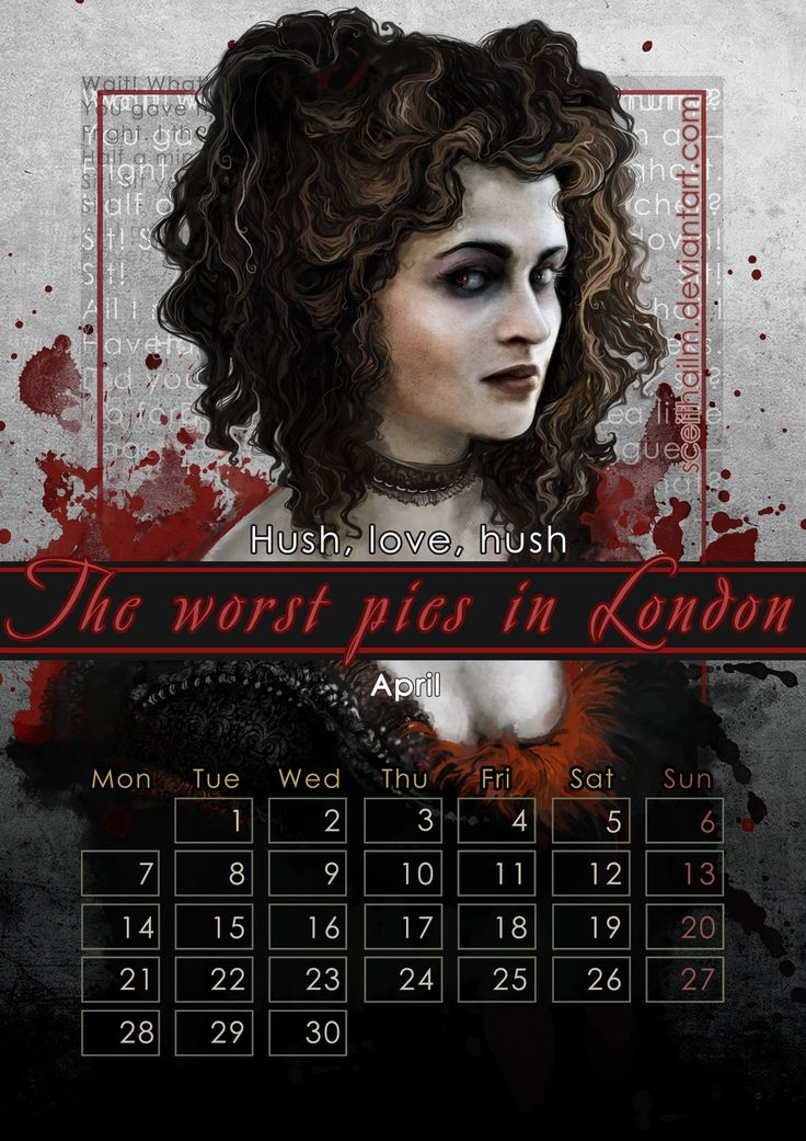 """Geek Calendar 2014: April by SceithAilm.deviantart.com on @deviantART - Featuring Mrs. Lovett from """"Sweeny Todd"""" as portrayed by Helena Bonham Carter. FYI: the whole Geek Calendar 2014 is FREE for download; just click on the pictures you want from here (http://sceithailm.deviantart.com/gallery/45711535) to download them."""