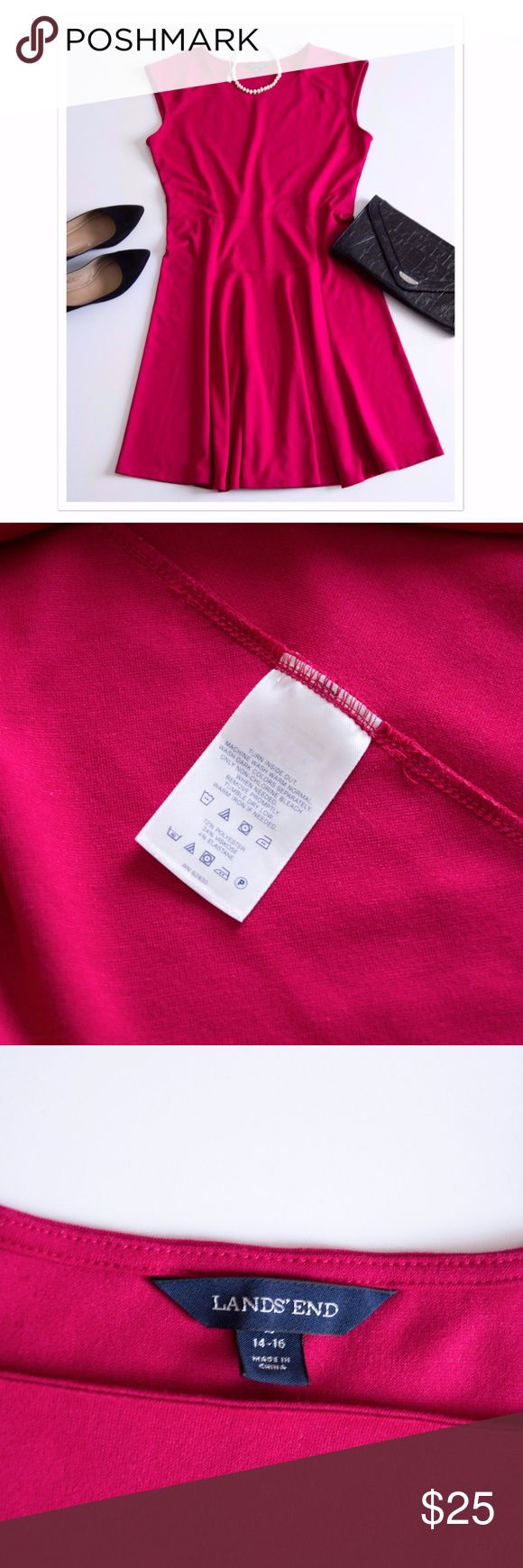 """Land's End Fuchsia Dark Pink Fit and Flare Dress L Size 14-16. This beautiful easy to wear dress can be dressed up or down. It features cap sleeves, seams at the waist and a flared bottom. Square neckline. 72% polyester, 24% viscose and 4% elastane. The Land's End 14-16 or Large size body measurements listed on their website are 40-42'' bust, 33.5""""-36.5"""" waist, 43""""-44.5"""" hips. Above knee length. Approximately 43"""" total length. Land's End Dresses Midi"""