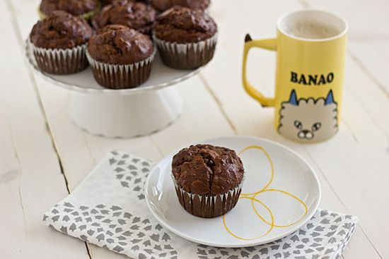 Dark Chocolate Banana Breakfast Muffins: I reduced the sugar from 3/4 c to 1/2 c, as the bananas add quite a bit of sweetness already.