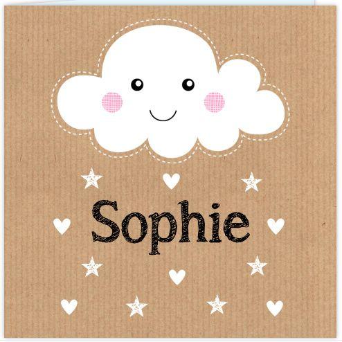 Trendy geboortekaartje voor een meisje met wolkje en kraftprint.