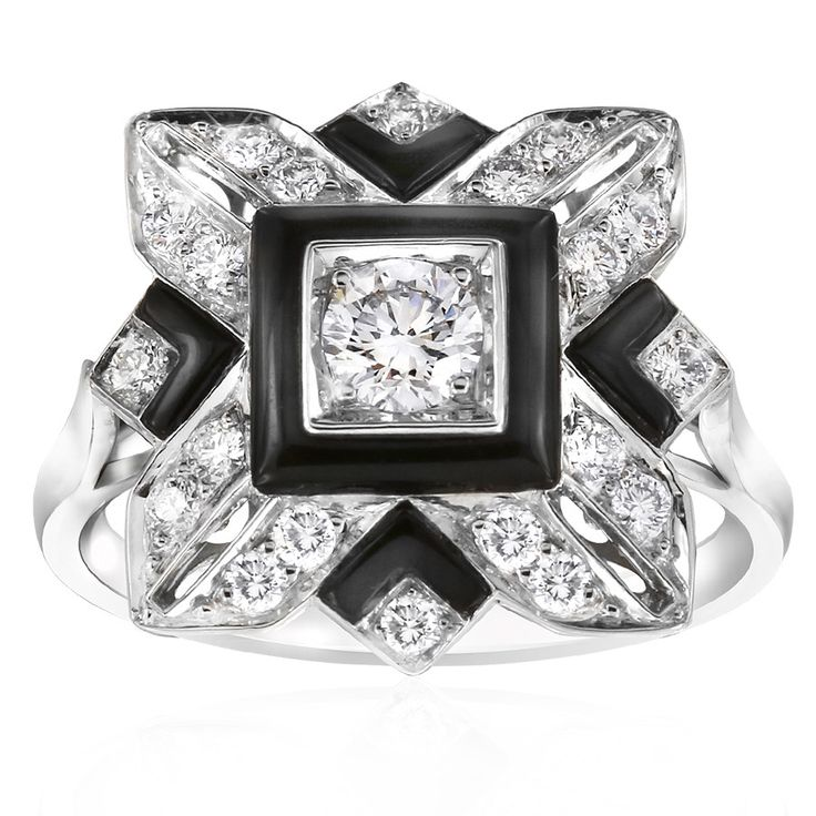 Noir onyx and diamond dress ring. Inspired by the striking geometric designs of the Art Deco period. Featuring gently domed pieces of onyx and sparkling white diamonds. Crafted in 18ct white gold. This ring will be customised to perfectly fit your finger, which may take up to 6 weeks.