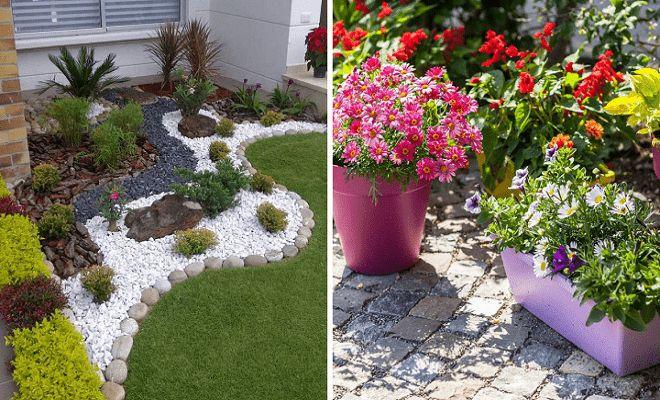 Decoraci n de jardines peque os con macetas y piedras for Macetas para jardines pequenos