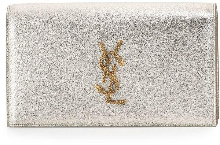Saint Laurent Monogram Grained Serpent Clutch Bag, Gold