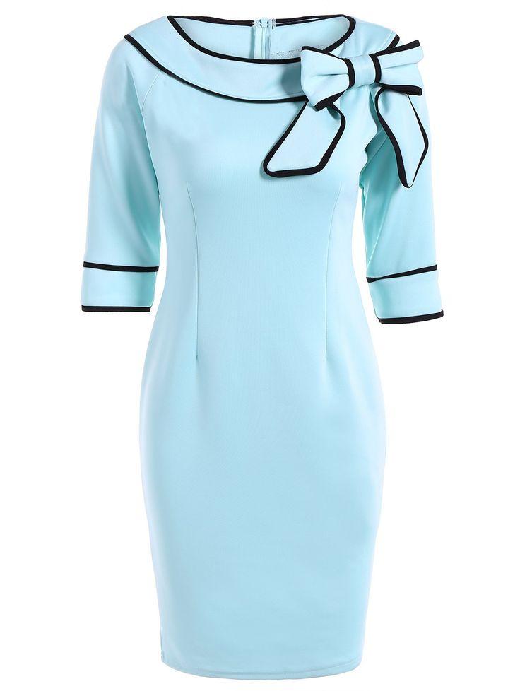 Bowknot Slash Neck Pencil Dress in Light Blue | Sammydress.com
