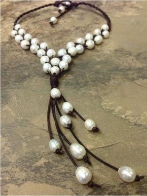 Cuir et collier de perles d'eau douce Mali par AdiDesigns sur Etsy