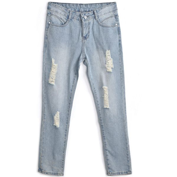 Blue Bleached Ripped Pockets Denim Pant (79 BRL) ❤ liked on Polyvore featuring pants, jeans, bottoms, sheinside, jeans / pants / leggings, denim pants, distressed pants, bleached pants, torn pants and denim trousers
