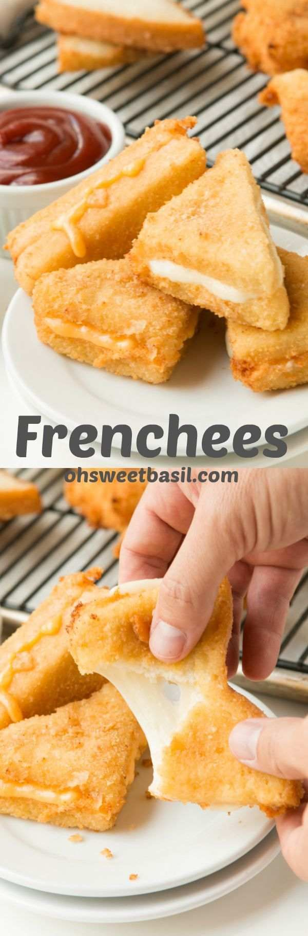 These are our new favorite appetizer for parties! Frenchees are deep fried grilled cheese sandwiches and they are amazing! http://ohsweetbasil.com