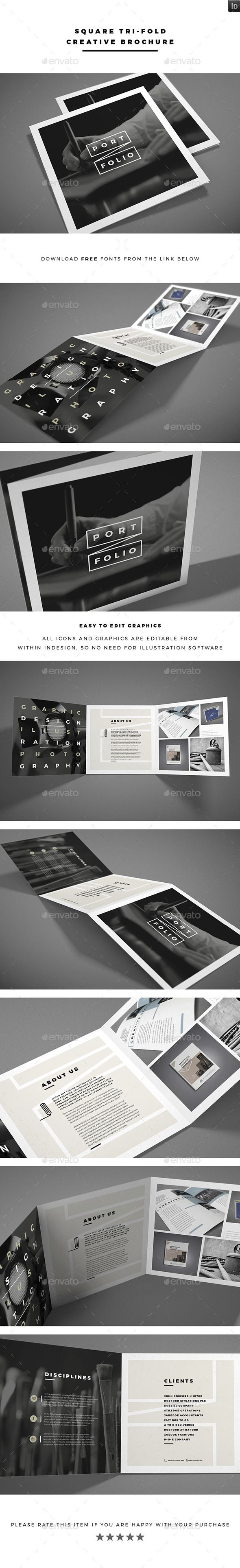 Square Tri-fold Creative Brochure Template #printdesign #brochure Download…