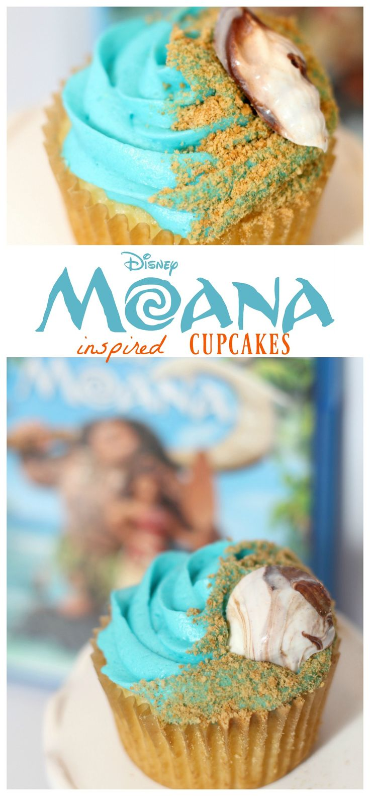 Celebrate the release of #Moana on Blu-ray with these Moana Inspired Cupcakes