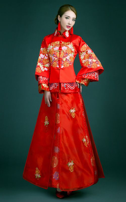 1a9cdbb16fc1 YiMengGe-15288 Embroidered floral red satin TangZhuang XiuHe traditional Chinese  bridal wedding dress 009