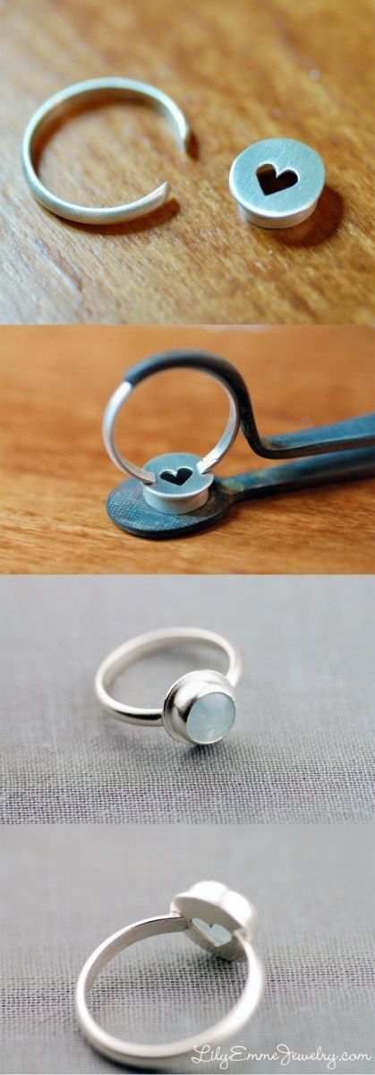 Aquamarine ring progression photos | LilyEmme Jewelry peek-a-boo heart back cabochon set ring