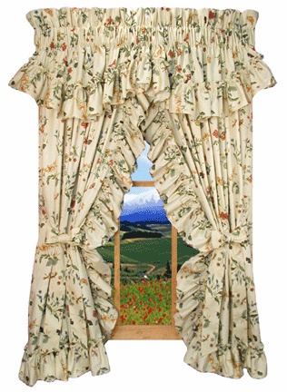 Image detail for -Ruffled Priscilla Curtains with Country Floral Print ! -------  I LIKE THE VALANCE ON TOP OF THESE CURTAINS