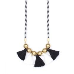 Fekete bojtos nyaklánc Leírás: Fekete-fehér csíkos hosszú kötélnyaklánc.Fekete és fehér színű pamut bojtokkal. Sárgaréz gyöngyökkelfém kupakokkal.  A nyaklánc hossza: 81 cm.  Összetétel: Poliészter kötélpamut bojtoksárgaréz gyöngyökfém kupakok nikkelmentes.  #fashion #handmadejewelry #handmade #jewelry #unique #design #casseljewelry #fashionjewelry #jewelrydesign