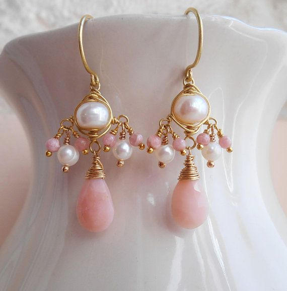 Faceted Pastel Pink Peruvian Opal Dangles Wrapped in Silver