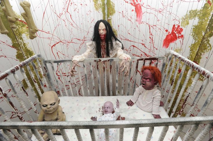 Haunted Nursery- children's music, mp3 of baby crying, rocking chair rocking by itself slowly, demon baby prop or rats feeding on a baby