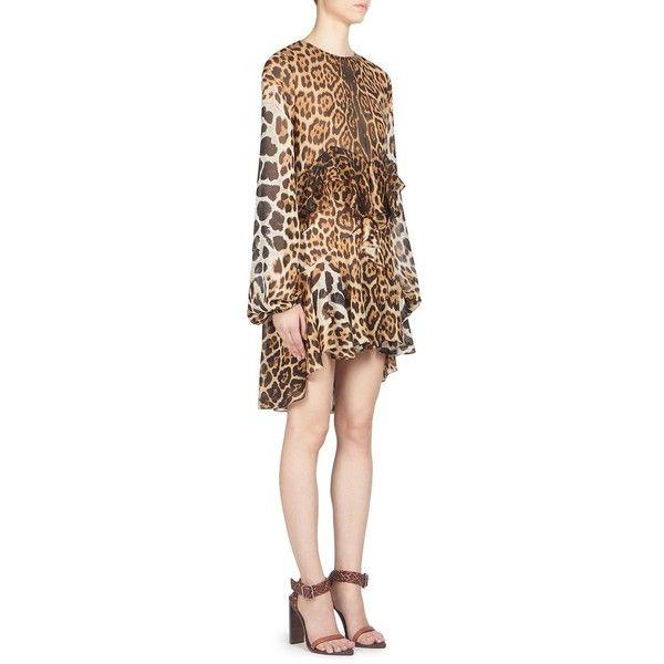 Saint Laurent Leopard Print Silk Ruffle Dress (43,125 MXN