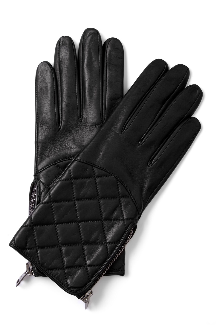 Claires black gloves - Black Quilted Leather Gloves